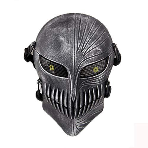 haoYK Maschera di protezione integrale per airsoft, paintball, giochi di guerra all'aperto con armi a pallini, in stile teschio/fantasma spaventoso, anche per feste di Halloween, Silver Black