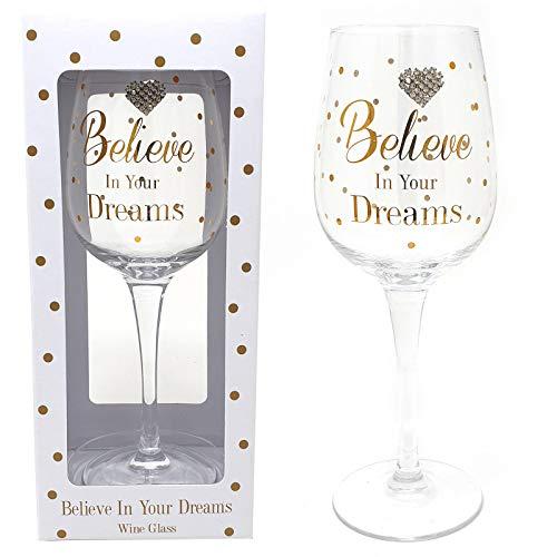 Believe in Your Dreams Verre à vin avec Doré à pois Cœur illustrations dans une boîte de présentation