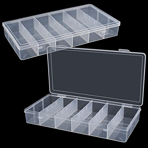 2 packs clear visible plastic storage box cosmetic tools storage box makeup tools fishing tackle accessory box organizer jewelry screws hardware accessories organizer box