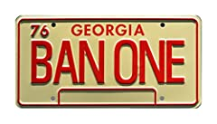 "Georgia license plate style and colors (Tan & Red) Standard USA plate dimensions (12"" x 6"") Screen accurate plate Metal stamped / embossed aluminum Shrink-wrapped"