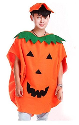 Halloween Pumpkin Costume Set for Family Parent Kids Orange Pumpkin Cosplay Suit Hat School Party Children Clothing Clothes Accessory (Adult Size (for Height 59''-71''))