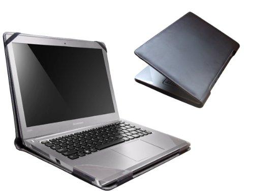 Navitech schwarzes Premium Executives echtes Leder Case/Cover/Tasche für das Lenovo IdeaPad U300s 13.3 Zoll Ultrabook