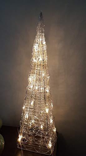 ILUMINACIÓN DE DISEÑO Árbol de Navidad Moderno con 30 Luces Leds, Blanco, 60cm