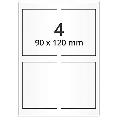 Labelident Laseretiketten selbstklebend auf DIN A4 Bogen - 90 x 120 mm - 400 Universal Etiketten weiß, matt, 100 Blatt Papier Laserdrucker Etiketten