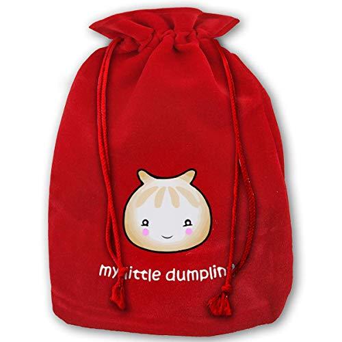 Hengtaichang Large Christmas Bag Kawaii Chinese Dumpling Velour Santa Sack Drawstring Bags Jewelry Pouches
