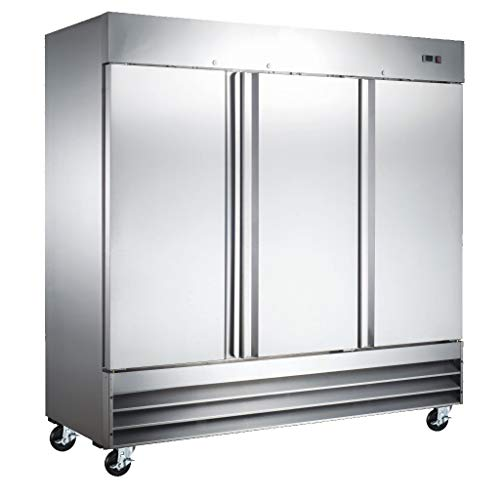 Xiltek All New 3 Door Commercial Reach In Stainless Steel Refrigerator - Restaurant Kitchen Fridge