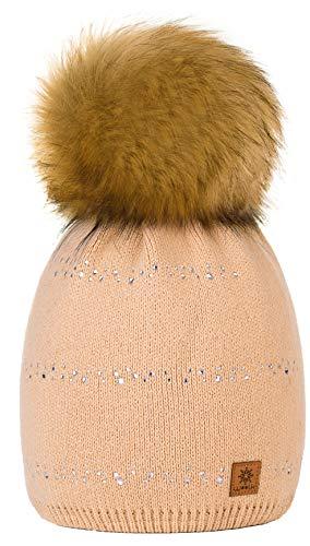 4sold Winter Autunno Inverno Cappello Cristallo più Grande Pelliccia Pom Pom Invernale di Lana Berretto delle Signore delle Donne Beanie Hat Pera Sci Snowboard di Moda (Beige)