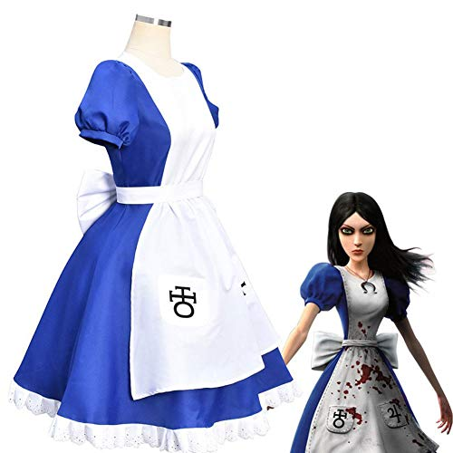 LJLis Anime Alice Madness Returns Party Cosplay Kostüm Blue Maid Kleid Komplettset für Halloween Carnival Uniforms Show,XXL