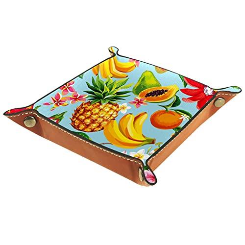 AITAI Bandeja de valet de cuero vegano organizador de mesita de noche placa de almacenamiento de escritorio Catchall fruta piña dragón papaya plátano azul