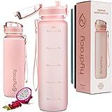 Hydracy 500 ml Trinkflasche mit Infuser und Zeitmarkierung - BPA-Frei Auslaufsicher Sportflasche - Kondenswasserfrei Wasserflasche - Ideal für Sport und Outdooraktivität - Rosa Gold