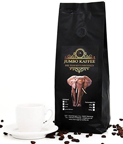 Jumbo Kaffee   Elefantenkaffee Maragogype (1000 g, Ganze Bohnen) - Die größten Bohnen der Welt, ohne Säure, extra mild
