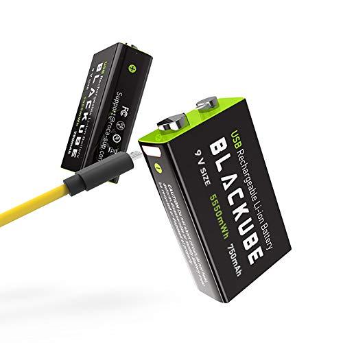 Batería Recargable de Litio Blackube de 9 voltios, 750 mAh, 1.8 Horas de Carga rápida por Micro USB, 1000 ciclos para Detector de Humo, multímetro de Alarma contra Incendios (Paquete de 2