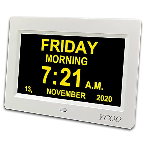 YCOO Digital Calendar Day Clock with 7 Inches Display Digital Clocks,12 alarms Clocks for people living with Dementia, Memory Loss Alzheimer, 7-inch Digital Photo Frame (Warm White 7 inch)