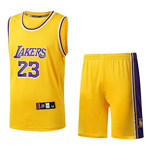 ZYLL Lakers Basketball Uniform 23# James Jersey Men's Round Neck Basketball Uniform Jersey Embroidery Suit XXXL S 23'Yellow