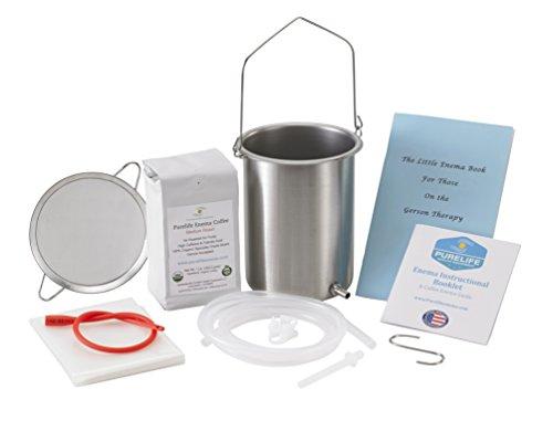 PureLife Coffee Enema Kit- Made in USA -'All You Need Kit - 2 Qt USA Stainless Steel Enema Enema Bucket -1 Lb Medium Air Roast Organic Enema Coffee- Mold & Fungus Free - Coffee Enema Strainer