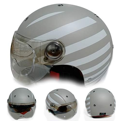 DJcala motorhelm, retro/antiek-look, voor Harley motorhelm, open gezicht, gecertificeerd, Dot Cruiser Chopper, Pilot, jethelm, bescherming tegen botsingen, 55 - 61 cm