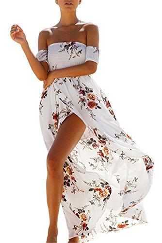 Luojida Damen-Strandkleid, Bohemian, lang, floral, Sommer, sexy, plissiert, schulter- und rückenfrei, Weiß - 2, Large
