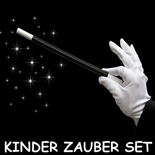 German Trendseller® - Zauberstab + Weiße Baumwoll Handschuhe für Kinder ┃ Magic Zauber Set ┃ Zauber Set für die Zauber-Show