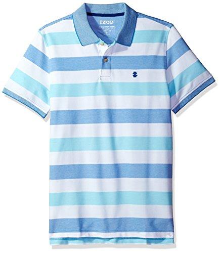 IZOD Men's Fit Advantage Performance Short Sleeve Stripe Polo, Blue Revival, XX-Large Slim
