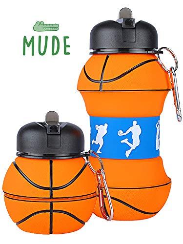 Mude-Borraccia Basket-550 millilitri-Divertente e Indistruttibile, In Silicone Apribile e Richiudibile, Antigoccia-Senza BPA-Per Ragazzo e Ragazza-Idea regalo e Scuola