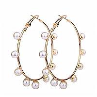 JczR.Y - Pendientes de perlas grandes de imitación para mujer