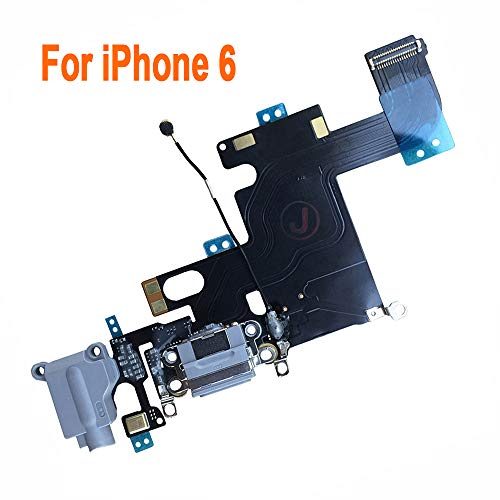 Johncase OEM Charging Port Dock Connector Flex Cable w/Microphone + Headphone Audio Jack Port Ribbon Replacement Part Compatible for iPhone 6 All Carriers (Black/Space Gray)