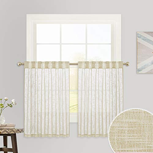 RYB HOME Linen Sheer Valance for Kitchen Half Windows, Breezy Subtle Linen Texture Wave Semi-Sheer Privacy Tier Curtains for Kids Nursery Bedroom, Warm Beige, 52 x 36 inch per Panel, 1 Pair