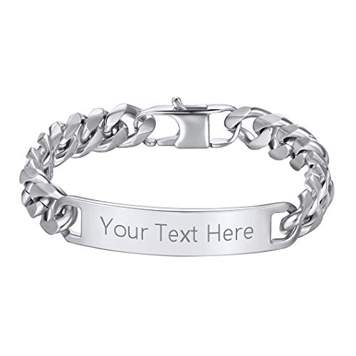 Personalized Bar Bracelet With Cuban Chain, Customized Text/Name/Anniversary, 10MM Wide, 21CM Length, Charm Bangle, Bracelet For Couple, 316L Stainless Steel Love Jewellery ID Bracelets For Men