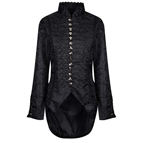 Ro Rox Damen Goth Gotisk Cosplay Samt Jacke Mantel Frack - Brokat (M)