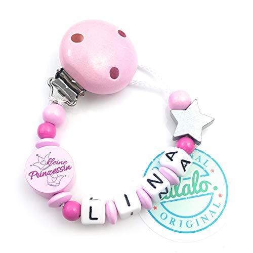 Baby Schnullerkette mit Namen, Kleine Prinzessin, Stern, Rosa, Handmade Namenskette/Schnullerhalter zur Geburt, Geburtstag, Taufe für Mädchen