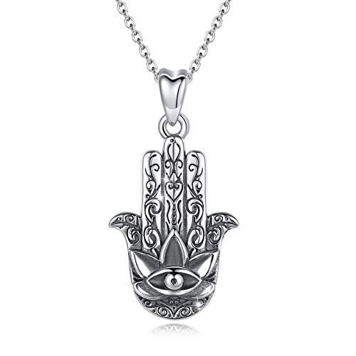 Fatimas Hand Kette Halskette Damen Silber 925 Viel Glück Vintage Evil Eye Anhänger AEONSLOVE Hamsa Hand Schmuck Geschenke für Frau Mädchen Sie