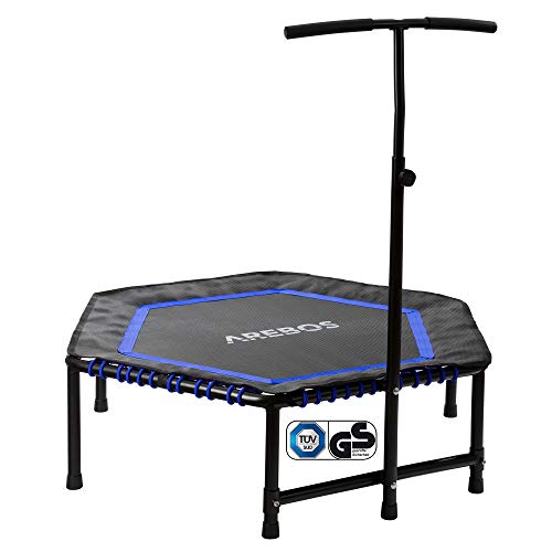 Arebos Fitness Cama elástica con Manillar | MAX hasta 120 kg | TÜV Test | Fitness Rebounder para Entrenamiento Corporal y de Cardio Workouts | Azul