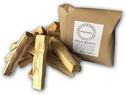 ORIGINALIA Palo Santo 100% Natural para Quemar | Astillas de 10 cms. Madera Sagrada del Perú | 100 grs. en Bolsa Hermética, Muy Aromático