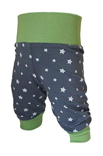 Babyhose, Pumphose Sternchen Jungen oder Mädchen, Kinderhose, Jerseyhose grün, dunkelgrau mit Sternen von Tom & Lottchen (50/56)