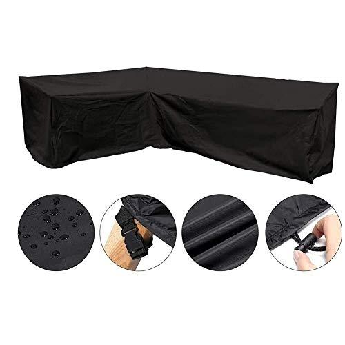 Cubo al aire libre muebles de ratán cubiertas impermeables de tela Oxford, en forma de L Cubierta izquierda del sofá al aire libre a prueba de polvo cubierta ( Color : Black , Size : 300x300x98cm )