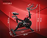 UrbanFit Pro Bicicleta Spinning Uso Rudo 18 Kilos Banda Profesional con agarres de frecuencia - Rojo