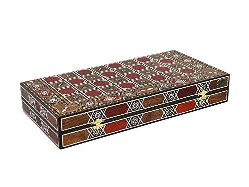 Chessgammon Juego de mesa de madera de madera con incrustaciones de madera de nogal rojo, alquimista de madre de perlas. RMC17