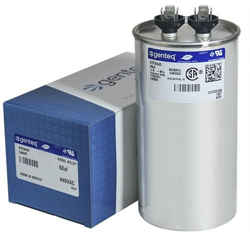 Packard PRCF60 - 60 uF MFD x 440 VAC Genteq Replacement Capacitor Round # C460R / 97F9043