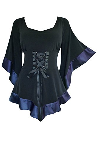 Dare to Wear Treasure Corset Top: Victorian Gothic Medieval Women's Plus Size Courtly Tunic for Everyday Halloween Cosplay Festivals, Midnight 2X