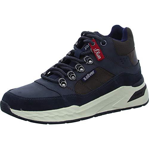 s.Oliver Herren Stiefel 15220-23, Männer Schnürstiefel, Boots kurz-Stiefel top Sneaker Sportschuhe schnürung Herren Men,Navy Comb,44 EU / 9.5 UK