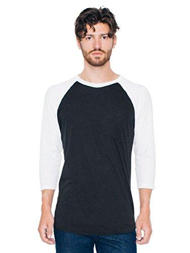 T-shirt Raglan Manches 3/4 en Poly-Coton - Black / White / M