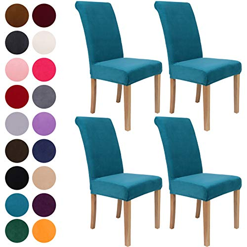 Colorxy Velvet Spandex Chair Covers for Dining Room Set of 4, Soft Stretch Chair Protectors Slipcovers, Removable and Washable, Peakcock Green