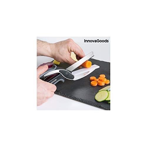 Innovagoods IG812881 Cuchillo-Tijera Con Mini Tabla De Cortar Integrada, Negro/Gris