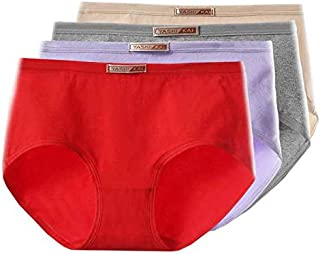 TiCARING 4 Pack Ladies Underwear Cotton Full Briefs Middle Waist Knickers Underwear Panties for Women Multipack