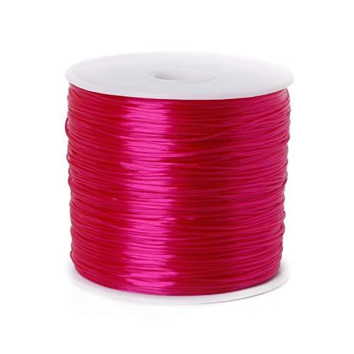 ZIJ Alambre de abalorios de 50 m/rollo de cuentas de cristal para hacer joyas, cuerda elástica de 0,7 mm, accesorios para collares (color: fucsia, tamaño: 8 metros)