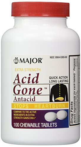 Acid Gone Antacid Chewable Generic for Gaviscon Extra Strength Chewable Tablets 100 Ct. Per Bottle Pack of 2 Bottles Total 200 Tablets by Major Pharmaceuticals