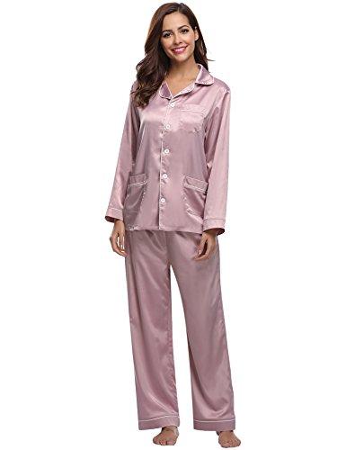 Aibrou Pijamas Mujer Invierno con 5 Bolsillos Seda Saten,Suave,Cómodo,Sedoso y Agradable