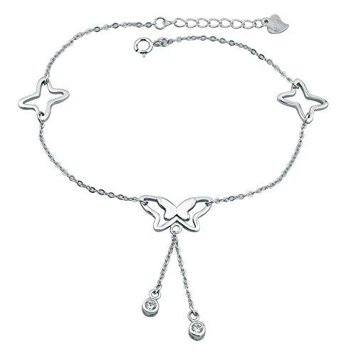 Uniqueen cavigliere in argento Sterling lucido sexy Lucky farfalla cavigliera catena Beach Girl