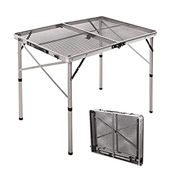 RedSwing Portable Grill Table for Outside Aluminum Folding Grill Stand Table for Outdoor Camping Picnic BBQ Lightweight Adjustable Height 36  x24  x15  /28   Sliver