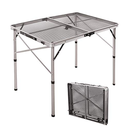 RedSwing Portable Grill Table for Outside, Aluminum Folding Grill Stand Table for Outdoor Camping Picnic BBQ, Lightweight Adjustable Height, 36''x24''x15''/28'' Sliver